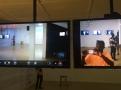 "Akwasi Afrane Bediako, SF-T, 2018, Live surveillance feed on two 32"" flatscreen monitors, Logitech webcam C270, 32"" flatscreen monitors, Samsung Galaxy S4 camera, detail view, photo by IUB"
