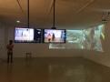 "Akwasi Afrane Bediako, SF-T, 2018, Live surveillance feed on two 32"" flatscreen monitors, Logitech webcam C270, 32"" flatscreen monitors, Samsung Galaxy S4 camera, installation view, photo by IUB"