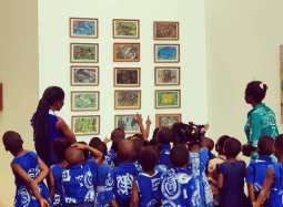 """Practicing across generations is at the core of SCCA's framework. a group of schoolchildren respond to Dawson's """"Koose"""" series and other pastel abstractions (1989-1994)."""